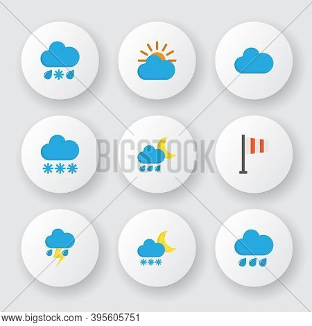 Climate Icons Flat Style Set With Sun, Cloudy, Rainy And Other Drizzles Elements. Isolated Illustrat