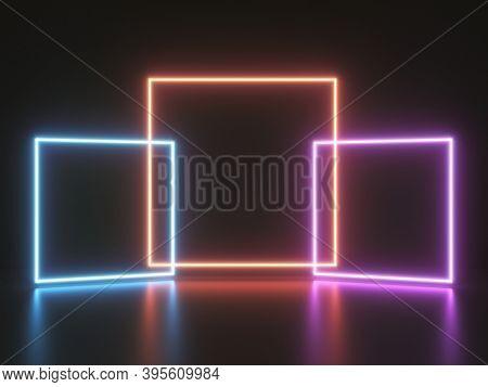 Bright neon light from square frames on dark background, 3D illustration, rendering.