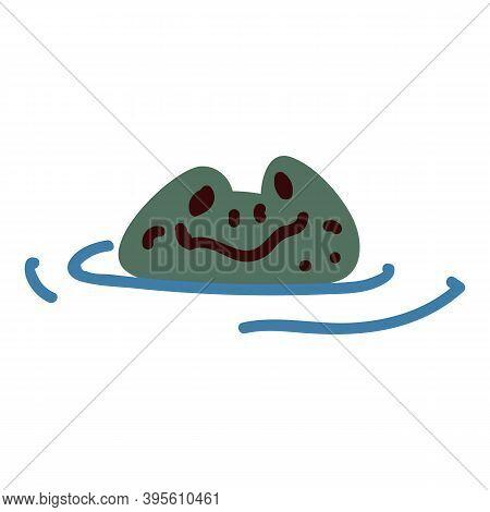 Cute Cartoon Frog In Pond Lineart Vector Illustration. Simple Amphibian Sticker Clipart. Kids Lake W