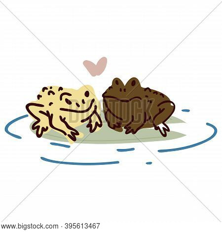 Cute Cartoon Frog Lovers On Pond Lily Pad Lineart Vector Illustration. Simple Amphibian Sticker Clip