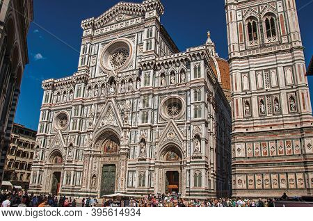 Florence, Italy - May 14, 2013. View Of Square With The Cathedral Santa Maria Del Fiore And Giotto's