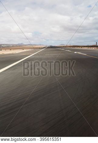 Close Up Of Tarmac On A Runway, Fuerteventura Airport, Canary Islands, Spain