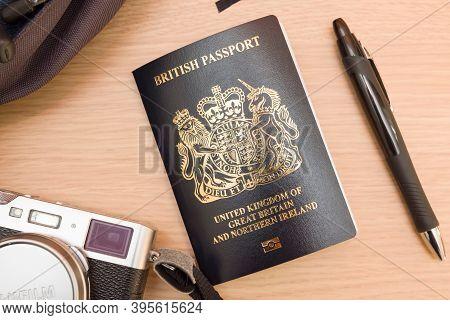 Buckingham, Uk - September 24, 2020. New Blue Black Uk British Passport Post-brexit, Flat Lay Travel