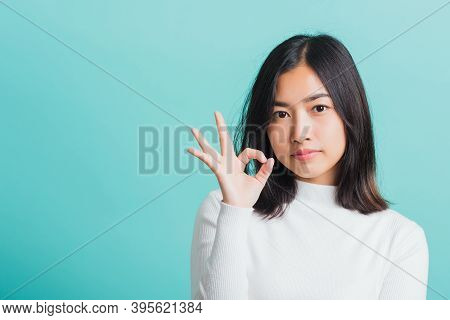 Young Beautiful Asian Woman Smiling And Showing Hand The Ok Sign, Portrait Female Show Finger Okay G