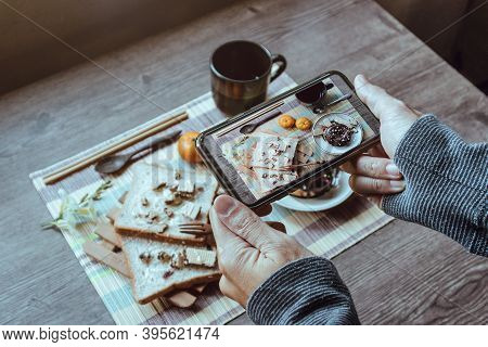 People Taking Food Photo With Smartphone, Winter Breakfast, Close Up.
