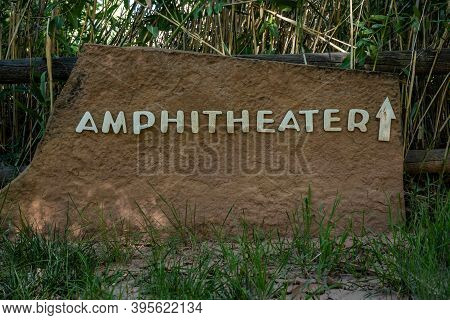 Amphitheater Directional Sign At Campground In Capitol Reef