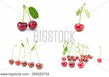 Collage Of Cherry On A White Background Cutout