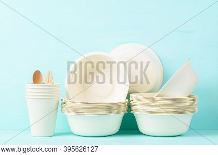 Biodegradable, Compostable, Disposable Or Eco Friendly Utensil Bowl And Cup On Pastel Color Backgrou