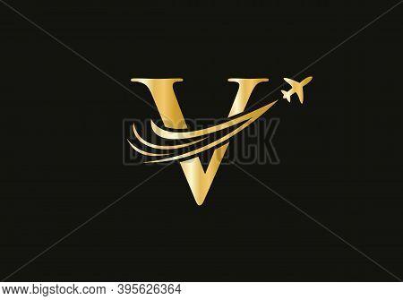 Air Travel V Logo Design With V Letter. Letter V Air Travel Logo Design Template.