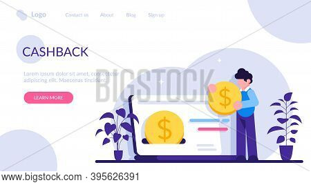 Cashback Concept. Happy People Receiving Cashback For A Buyer. Oins Or Money Transfer From Laptop To