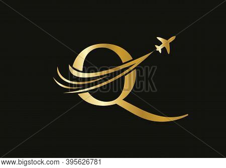Air Travel Logo Design With Q Letter. Q Letter Concept Air Plane And Travel Logo.