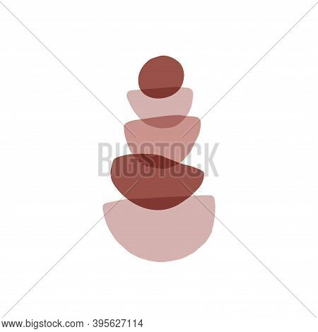 Meditation Stones Flat Vector Illustration. Abstract Shape Rocks Pyramid Isolated On White Backgroun