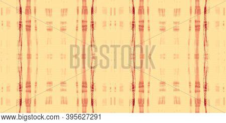 Orange Tartan Pattern. Watercolor Plaid Blanket. Man Stripes For Tweed Print. Seamless Summer Tartan