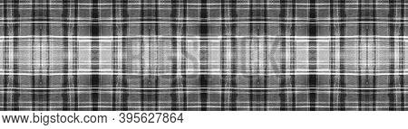 Black Buffalo Check. Watercolour Tartan Blanket. Wool Traditional Squares For Fabric Design. Seamles