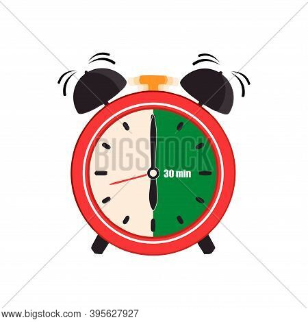 Thirty Minutes On Analog Clock Face Sign. Flat Style Design Vector Illustration Icon Isolated On Whi