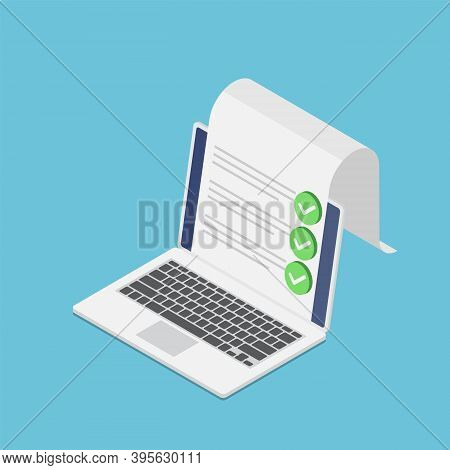Flat 3d Isometric Laptop With Document And Check Mark. Online Survey And Checklist Concept.