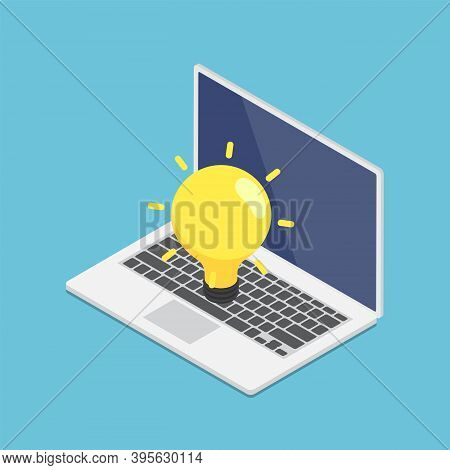 Flat 3d Isometric Laptop With Yellow Lightbulb Of Idea. Business Idea Concept.