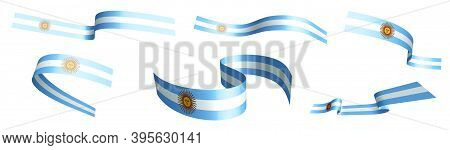 Set Of Holiday Ribbons. Argentina Flag Waving In Wind. Separation Into Lower And Upper Layers. Desig