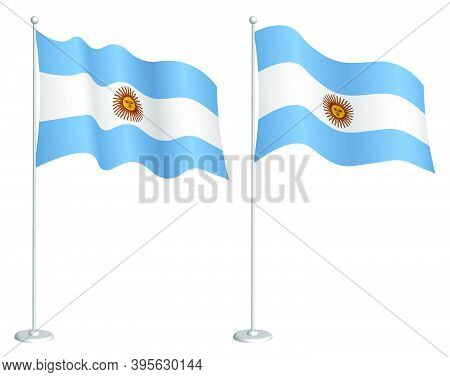 Argentina Flag On Flagpole Waving In Wind. Holiday Design Element. Checkpoint For Map Symbols. Isola