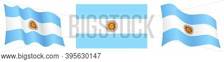 Argentina Flag In Static Position And In Motion, Fluttering In Wind In Exact Colors And Sizes, On Wh