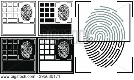Panel Icon For Scanning Person Fingerprint For Mobile Identification Applications. Biometric Identif