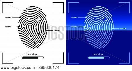 Panel For Scanning Person Fingerprint For Mobile Identification App. Biometric Identification Of Hum