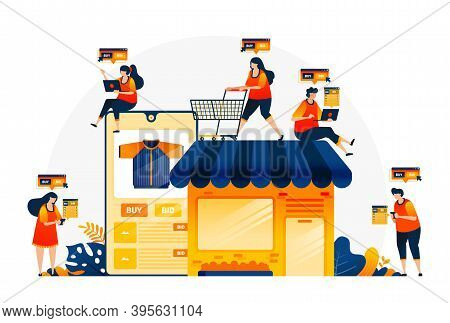 Illustration Of Shopping And Spending Money With E-commerce Apps. Own Your Own Shop With E-commerce.