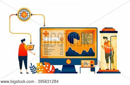 Health And Autoimmune Examinations With Monitoring Networks Technology. Vector Illustration Concept