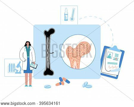 Bone Marrow Anatomical Icon. Human Bone Structure And Clinic Logo. Doctors Appointment, Consultation