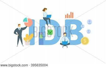 Idb, Industrial Development Bond. Concept With Keywords, People And Icons. Flat Vector Illustration.