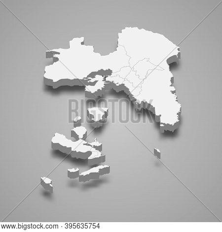 3d Isometric Map Of Attica Is A Region Of Greece
