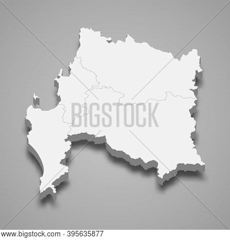 3d Isometric Map Of Biobio Is A Region Of Chile