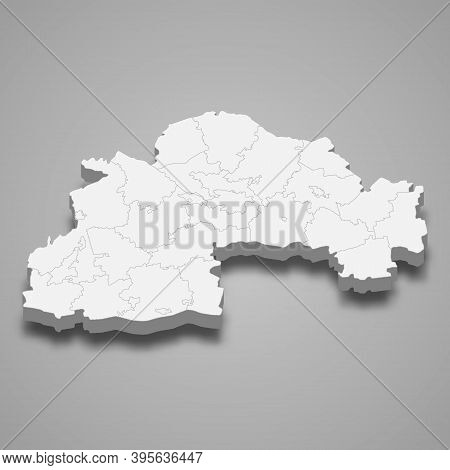 3d Isometric Map Of Oblast Is A Region Of Ukraine