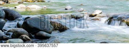 Rocky Stream Running Water. Mountain River Flow