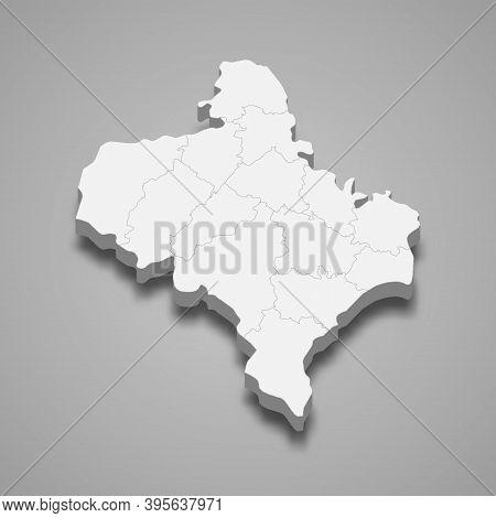 3d Isometric Map Of Ivano-frankivsk Oblast Is A Region Of Ukrain