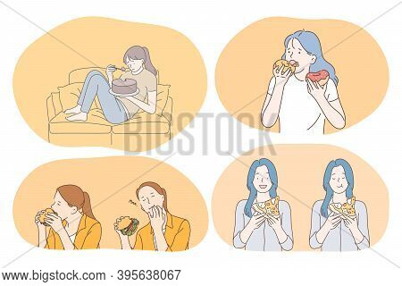 Unhealthy Eating, Fast And Junk Food, Calories Concept. Young Girls Cartoon Characters Eating Fast F