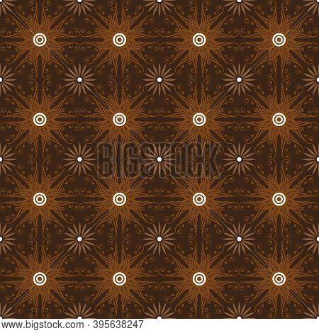 Elegant Flower Shape Motifs On Bantul Batik With Dark Brown Color Design.