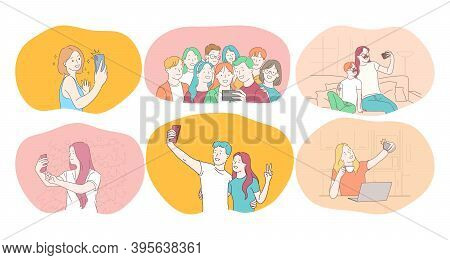 Selfie, Smartphone, Photograph Vector Illustration. Smiling People Friends Couple Teens Family Makin