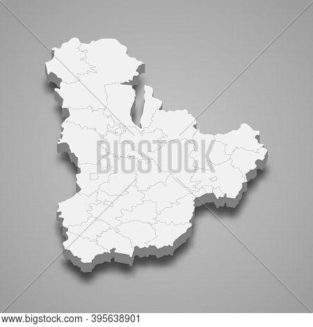 3d Isometric Map Of Kyiv Oblast Is A Region Of Ukraine
