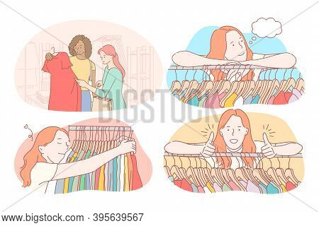 Shopping, Fashion, Clothing, Garment, Customer Concept. Young Positive Women Cartoon Characters Doin