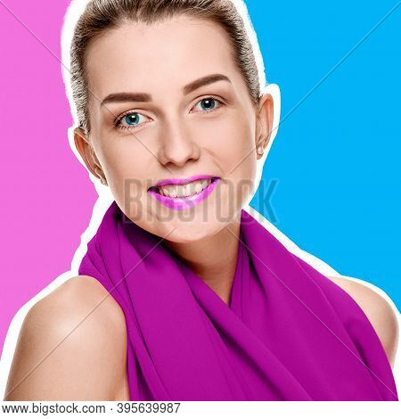 Beauty Portrait Of Young Smiling Woman Wearing Red Shawl On Purple Helio And Blue Background With Wh