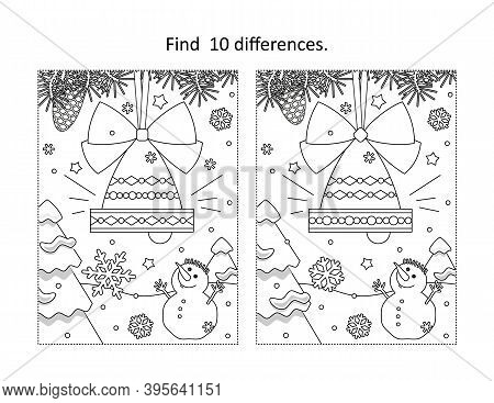 Find 10 Differences Visual Puzzle And Coloring Page With Winter Holidays, New Year Or Christmas Bell