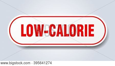 Low-calorie Sign. Rounded Isolated Button. White Sticker