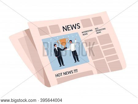 Weekly Or Daily Newspaper With Articles. News Sheet With Picture And Text. Folded Tabloid Isolated O