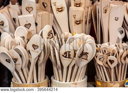 Cracow, Poland - March 28, 2015: Wooden Spoons At A Street Stall In Krakow. Poland. Inexpensive And