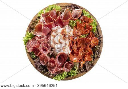 Lunch Meat, Cold Cuts On A Plate Isolated On White