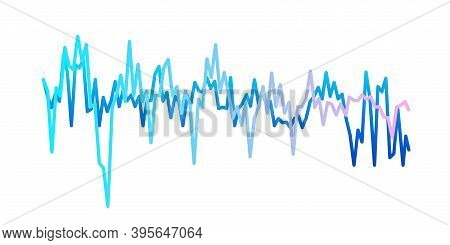 Sound Waves Isolated On White Background. Gradient Curves Of Beats. Musical Equalizer, Vibration Or