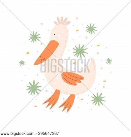 Funny Cartoon Goose On A Light Background. Cute Poultry Or Poultry. Picture For The Design Of A Chil
