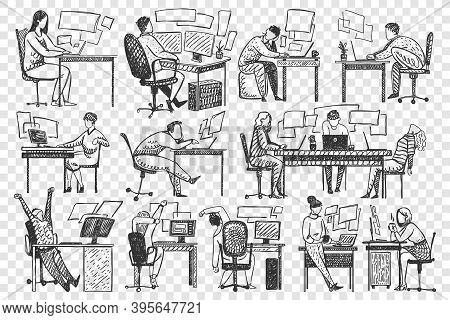 People In Office Doodle Set. Collection Of Hand Drawn Businessmen Women Clerks Managers Sitting Work