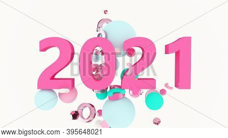 2021 New Year Wallpaper. 3D Background. Abstract Shapes 3D. Winter Holidays. Happy New Year 2021 Pos